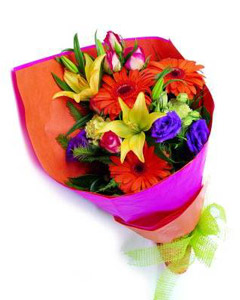 Bouquet of carnations, gerberas & greens