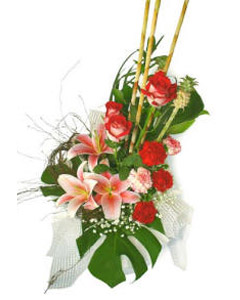 Bouquet of red roses, lilies & carnations