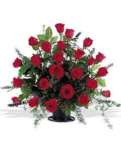 Basket of two dozen red roses