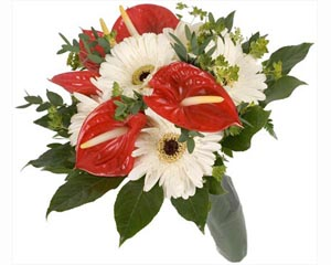 Bouquet of gerberas, anthurium and green