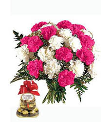 Bouquet of multicolor carnations & Ferrero Rocher