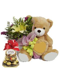 Lily With Sitting Bear & Ferrero Rocher