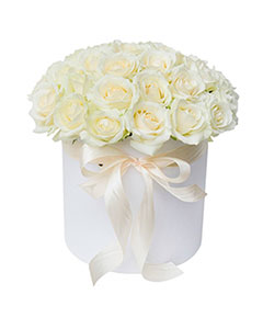 White Roses in a Round White Box