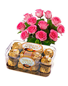 15 Pink Roses and Ferrero Rocher