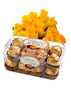15 Yellow Roses and Ferrero Rocher