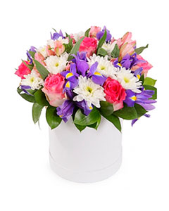 Flowers in a Round Box