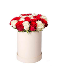 Roses in a Round White Box