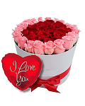 24 Red & Pink Roses Box with Balloon