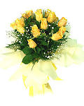 Dozen yellow roses wrapped