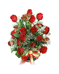 Red roses with baby's breath and greenery