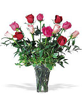 Mixed red and pink roses