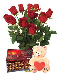 11 long stemed Red roses & Teddy Bear & Box Chocolates
