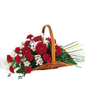 Basket of red & white flowers