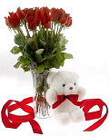 13 Red roses & small  Bear