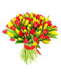 Bouquet of red and yellow tulips