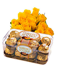 15 Yellow Roses and Ferrero Rocher