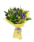 Iris & Yellow Tulip Bouquet