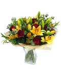 Mixed bouquet of roses & lilies