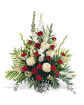 Arrangement of white & red roses